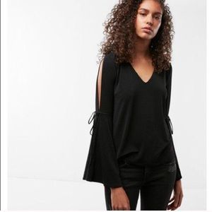 Express bell sleeve v neck blouse